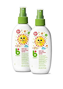 Babyganics SPF 50 Baby Sunscreen Spray UVA UVB Protection   Water Resistant  Non Allergenic 2 Pack  6 Ounce