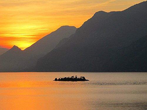 LAMINATED 32x24 Poster: Lake Garda Sunset Lake Italy Island