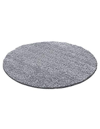 Carpet 1001 Structure à Fibres Longues Tapis Shaggy uni de Couleur de différentes Tailles et Couleurs - Gris Clair, 200x200 cm Ronde