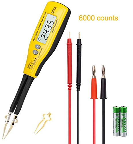 Digital SMD Messgerät AP-990C Smart Smd Tester Handdioden-Widerstandsmessgerät Smart Pinzette Digital-Multimeter Widerstand Kapazität 2 Pin mit Diodenprüfung+Auto Aus+Durchgangssummer+Batterietest