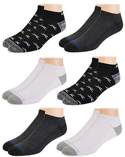 Reebok Mens' Breathable No-Show Low Cut Basic Cushion Socks (6 Pack) (Assorted 2, Shoe Size: 6-12.5)