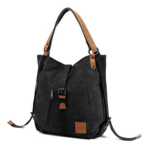 JOSEKO Canvas Tasche Handtasche, Damen Schultertasche Rucksack GroßVintage Umhängentasche Shopper für Alltag Büro Schule Ausflug Einkauf(Schwarz)