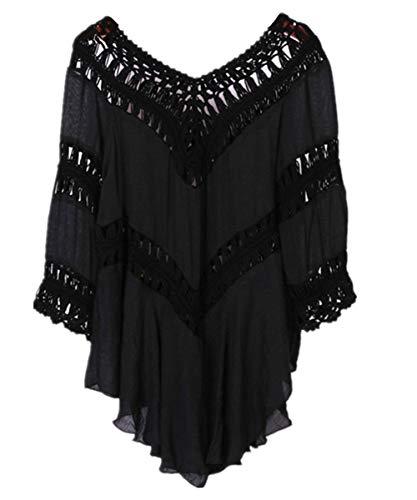 L-Peach Damen Tunika V-Ausschnitt Sommerkleid Strandkleid Strandponcho Sommer-Strand Bikini Cover Up One Size Schwarz