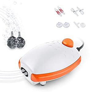 FEDOUR Aquarium Air Pump, Whisper Aerator with Accessories, 2 Outlets Silent Oxygen Pump for Fish Tank 30L to 400 Litres (White-Orange)
