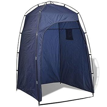 vidaXL Tente de Douche/WC/Dressing Bleu Tente de Changement Toilette extérieur Camping