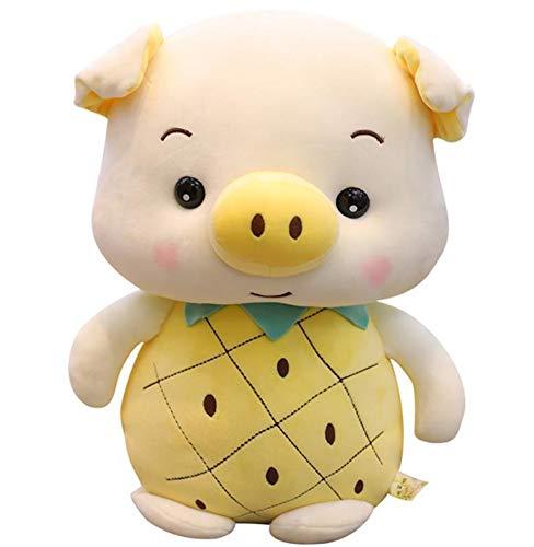 LAARNT Juguete de Peluche de Cerdo de piña Amarilla de 23 cm, Almohada de muñeca de Cerdo de Fruta de Dibujos Animados para niños