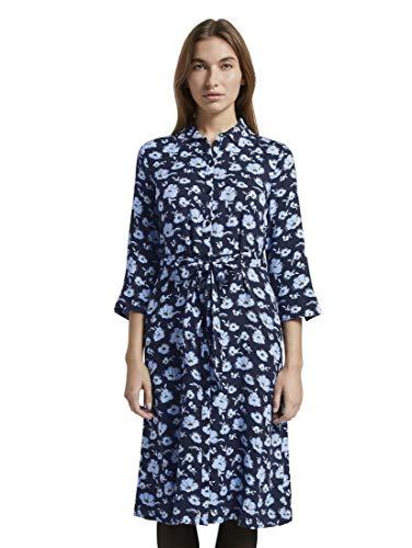 TOM TAILOR Damen Shirtkleid Kleid, Blau...
