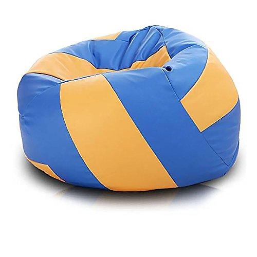 Pufmania Sitzsack Volleyball Kunstleder Ø 90 cm Blau und Orange