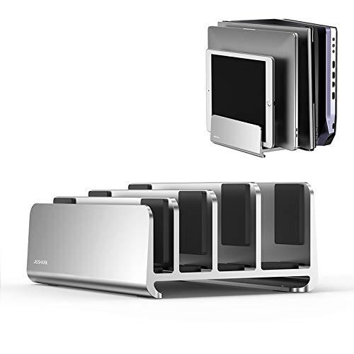 DolDer Soporte vertical para portátil, de aluminio con cojín de espuma, para tabletas, MacBook, iPad, ordenador portátil, libros, Lenovo, adecuado para 4 dispositivos (platino)