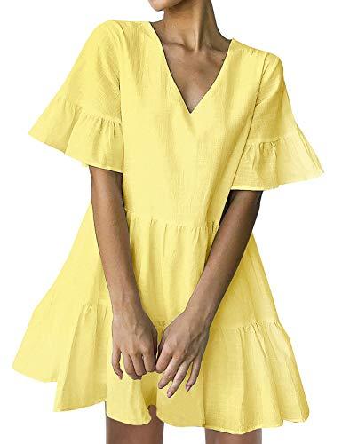 FANCYINN Sommerkleid Damen Kurz Tunika Kleid V-Ausschnitt Volant Lockeres Swing Mini Kleider Gelb