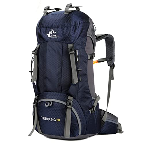 60L Waterproof Lightweight Hiking Backpack with Rain Cover,Outdoor Sport Travel Daypack for Climbing Camping Touring (Navy Blue)