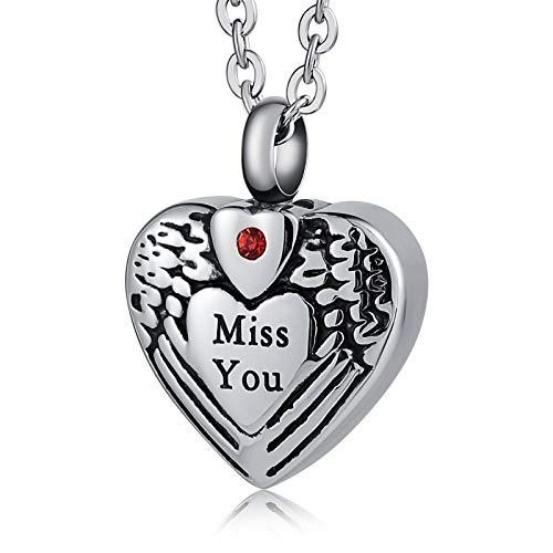 KnBoB Jewery Feuerbestattung Ashes Urne Halskette Edelstahl Ashes Anhänger Für Herren und Damen Herzen Schriftzug Miss You Silber