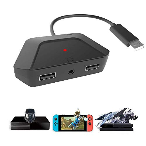 [Upgraded Version: Support 3.5mm Headset] Mouse Keyboard Converter Adapter with 3.5mm Audio Jack, for Nintendo Switch/Xbox One/ PS4/ PS3, PS4 Keyboard Adapter.