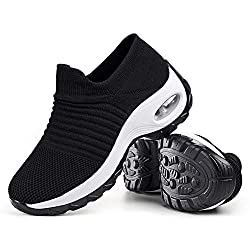 """Womens Walking Shoes Sock Sneakers - Mesh Slip On Air Cushion Lady Girls Modern Jazz Dance Easy Shoes Platform Loafers"""