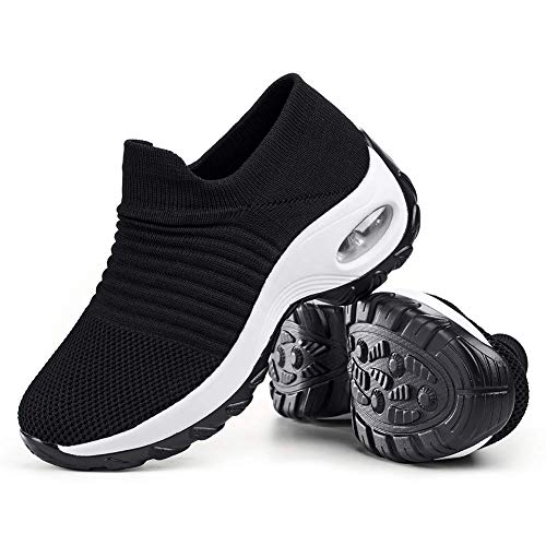 Women's Walking Shoes Sock Sneakers - Mesh Slip On Air Cushion Lady Girls Modern Jazz Dance Easy Shoes Platform Loafers Black&White,5.5