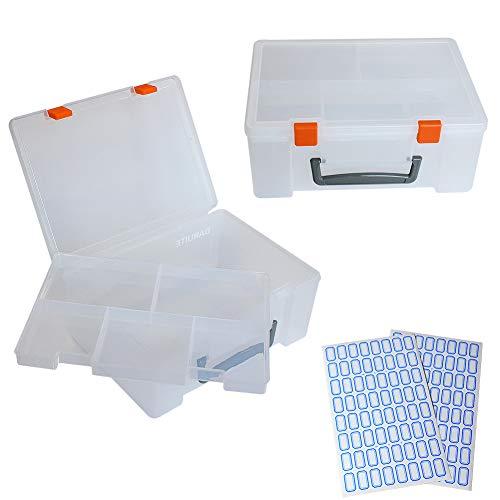DARUITE Caja de almacenamiento multiusos de plástico con bandeja extraíble, contenedor organizador transparente con cierre de pestillo para joyas, aparejos de pesca, cosméticos y costura.
