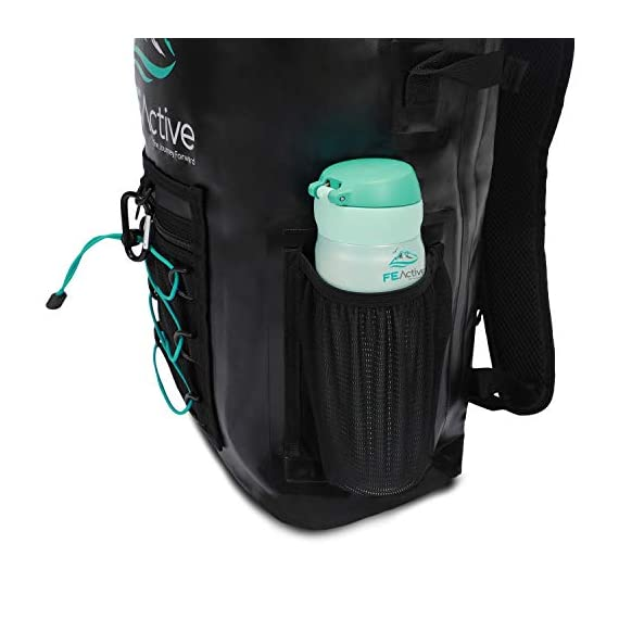 FE Active Dry Bag Waterproof Backpack - 20L Eco Friendly Hiking Backpack. Ideal for Camping Accessories & Fishing Gear… 6 DESIGN: The Huntington is made of environmentally safe PVC tested and certified. Bungee cords to hold tackle box, fly fishing gear, yoga mat, camping supplies and outdoors survival kits. Complimentary carabiner attached to increase utility. Roll top waterproof design makes for great extra large safe storage for gadgets like cell phone, camera equipment, clothes, and money. Chest strap keeps pack securely on while on a motorcycle, bike, sea doo, jet ski, snorkeling, or skateboarding CONSTRUCTION: Dry bag made of thick marine grade 5mm eco friendly Vinyl Tarpaulin with high frequency welded stitching made to withstand extreme outdoor activities. A must have for your emergency kit. Perfect dive bag where conditions are very wet. This 20L dry bag backpack includes padded shoulder straps with mesh lining for better air flow and built-in padded back support for more comfort. Includes exterior zipper mesh pocket to safely hold keys, sun glasses, and other items DIMENSIONS: Enjoy carrying everything you need with this professional waterproof backpack, which has a 20L capacity and measures 25.5 in long and 11.8 in wide. This heavy duty yet light backpack weighs 2 pounds ideal dry bag for your emergency kit. Rain and snow are no match for this dry bag. Used and trusted by our own USA military for its floating capabilities and ability to keep tactical gear dry. Also doubles as a great beach bag to keep your phone, lunch, towel, and accessories dry