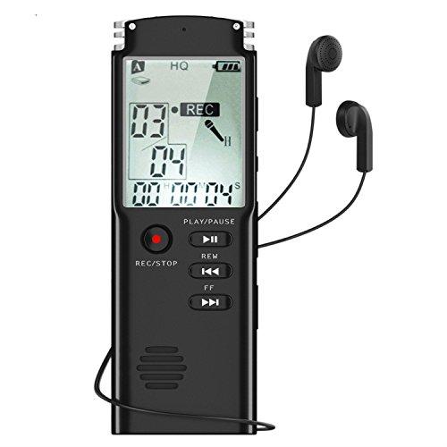 Hanguang Voice Recorder, 8GB digitale Voice Recorders met LCD-scherm & MP3-speler, USB Dictaphone Stereo met ingebouwde microfoon voor het opnemen van interviews Conversation Lectures Meetings Class