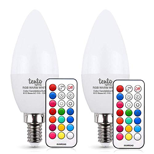 Tento Lighting E12 Candelabra Base, Dimmable Bullet Top Multi-Colored Remote Controlled Chandelier Party Lights LED Bulb, Cool White, 3w 250 lm (4600k - 6500k) (2/Pack)