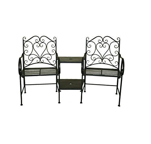 Charles Bentley Heart-Shaped Wrought Iron Companion Seat Love Seat - Fully Assembled in White/Black