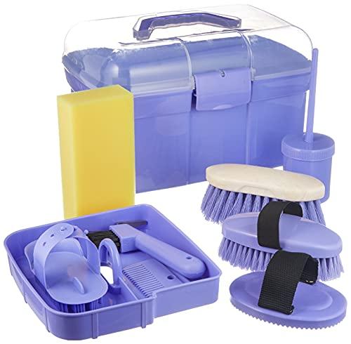Kerbl Putzbox befüllt für Kinder, lila (Pflegeset für Pferde) 321765