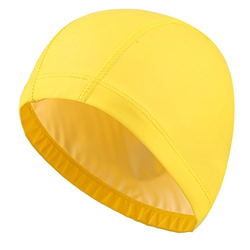 Ndier Gorro de natación para adultos, impermeable y elástico, de poliuretano, para hombre y mujer, amarillo