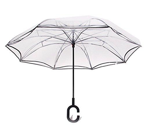 Invertido Paraguas,Edith qi Doble Capas UV Soleado El Paraguas,C Forma Manos Libres...