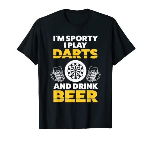 Soy deportivo juego dardos y bebo Dart player Camiseta