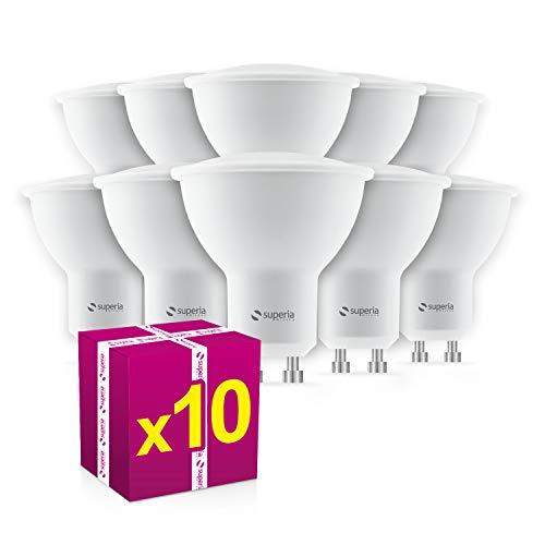 Lampadina LED GU10 7W Superia, Equivalente a Lampada Alogena da 70W, Bianca Calda 3000K, 600 Lumens, 120° Raggio Visuale, 100-240V, Non Dimmerabile, WE6C, Confezione da 10