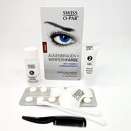Swiss o-Par kit de teinture pour cils et sourcils, ce coffret contient tout le matériel nécessaire pour 10 à 12 applications. Facile à utiliser, cette solution de coloration dure plusieurs semaines (Brun)