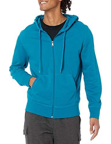 Amazon Essentials Lightweight French Terry Full-Zip Hooded Sweatshirt Felpa con Cappuccio, Foglia di tè, L