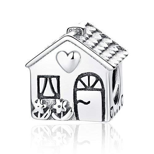 Ciondolo a forma di graziosa casetta, in argento Sterling 925, compatibile con bracciali europei