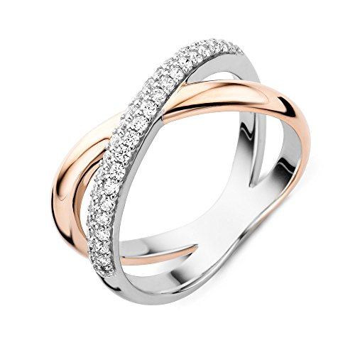 Miore Ring Women Zirconia Silver Rose plated 925 Sterling Silver
