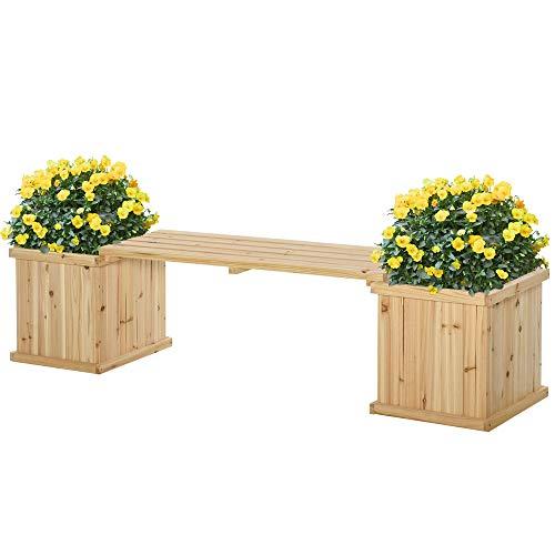 Outsunny Wooden Garden Planter & Bench Combination Garden Raised Bed Patio Park Natural Wood Colour 176 x 38 x 40 cm