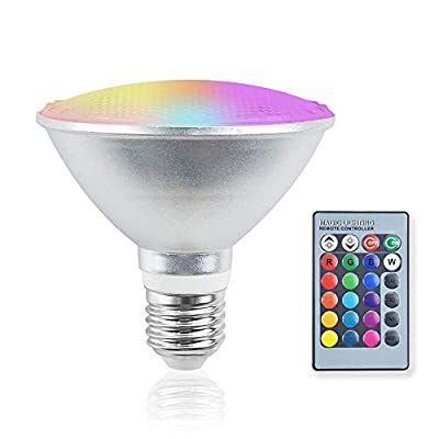 Bonlux PAR30 RGB LED Flood Lights Outdoor, 20W RGB+Warm White E26 Dimmable Color Changing LED Bulb with Remote Control, Waterproof Lawn Lamp for Home Courtyard Party Decor Lighting