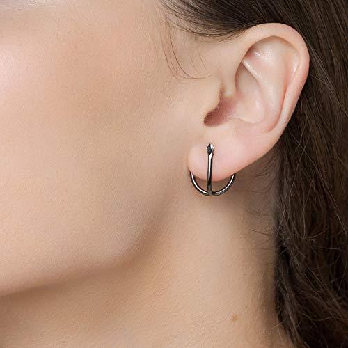 Pendientes de ancla de plata esterlina, pendientes minimalistas, pendientes huggie, pendientes de oreja, pendientes negros, pendientes punk, joyas únicas