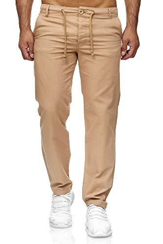 Reslad Leinenhose Männer Chino Herren-Hose lockere Sommer Stoffhose Freizeithose aus bequemer Baumwolle lang RS-3000 (L, Camel)