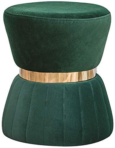 Woonkamer stoel Creative Ottomaanse Footstool Ronde Vintage Poef Kruk Bekleed kaptafel Kruk Change Shoe voetensteun for Woonkamer Slaapkamer (Kleur: Groen) (Color : Green)