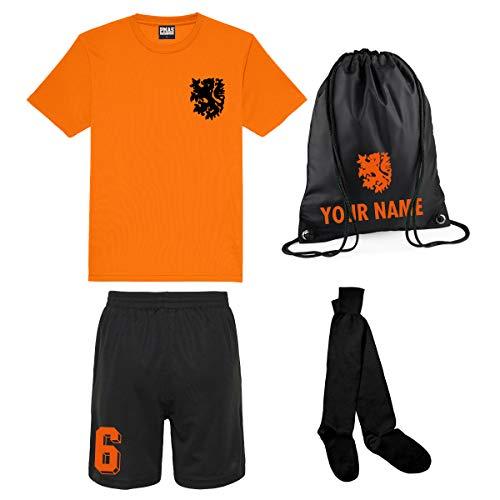 Print Me A Shirt Conjunto de Fútbol Naranja y Negro Selección de Holanda Personalizable para Niños, Camiseta, Pantalones Cortos, Calcetines y Bolsa Personalizable, Niños y Niñas