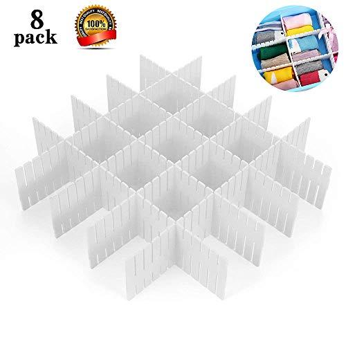 Drawer Dividers,ShineMe 8pcs Drawer Divider Organizers,White DIY Plastic Grid,Plastic Adjustable Drawer Dividers,Household Storage Makeup Socks Underwear Organizer for Clothes,Kitchen,Office