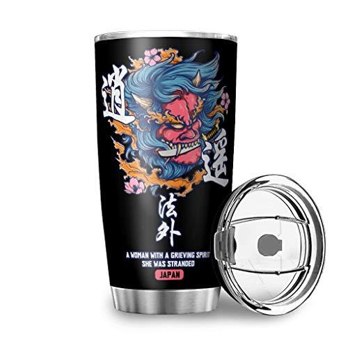Dessionop Botella de agua de Tumbler con diseño de espada japonesa, 20 onzas, a prueba de fugas, tapa de color blanco, 600 ml