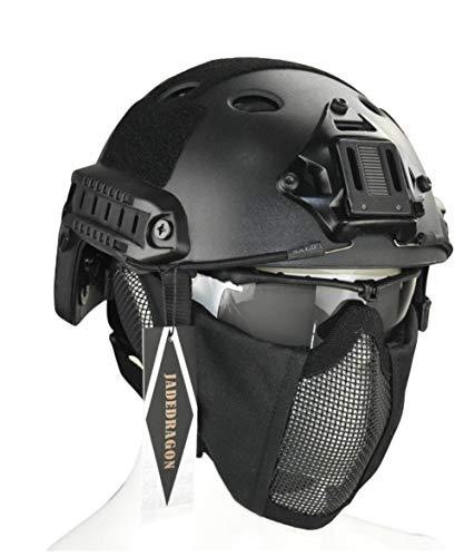 Jadedragon PJ Tactical Fast Helmet & Protect Ear Foldable Double Straps Half Face Mesh Mask & Goggle (Black)