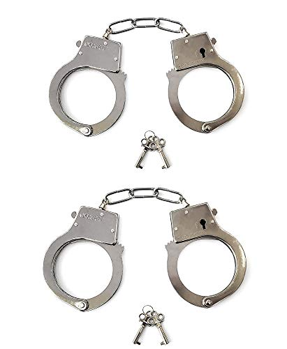 JASINCESS Toy Metal Handcuffs with Keys Police Costume Prop Accessories Party Supplies ( 2 Pack )