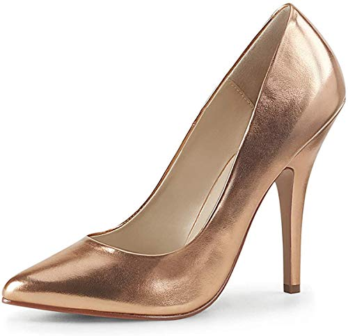 Pleaser Damen SEDUCE-420 High Heels Pumps PU Rose Gold 45 EU