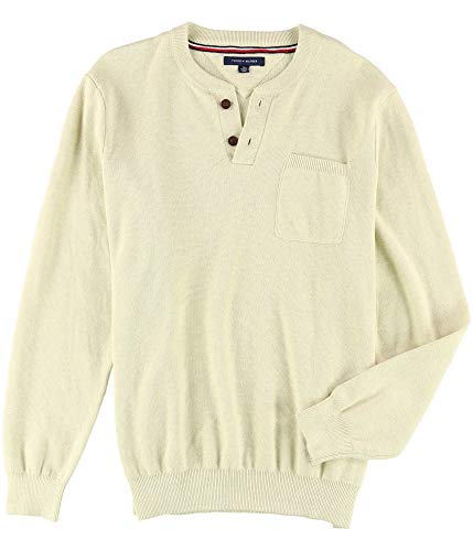 Tommy Hilfiger Mens Waffle Henley Sweater, Off-White, X-Large