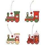 WLYY 4pcs / Set DIY Christmas Train Colgantes de Madera Árbol de Navidad Adornos Colgantes Artesanía de Madera Regalo para niños Decoración de Fiesta Accesorios para el hogar 7 * 8cm 4pcs mixB