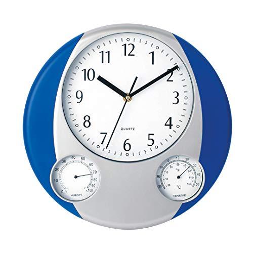 Makito Wanduhr Prego (blau) I Analog Wanduhr I Wanddeko I Uhr mit Thermometer und Wasserstoff