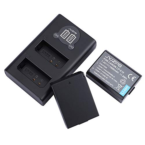 JYJZPB LP-E10 Battery Charger and Replacement Batteries for Canon EOS Rebel T3, T5, T6, Kiss X50, Kiss X70, EOS 1100D, EOS 1200D, EOS 1300D Cameras