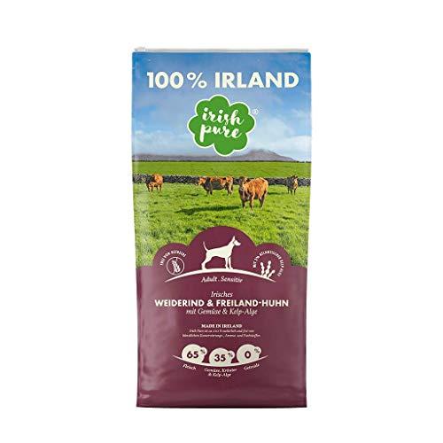 Irish Pure Adult Weiderind & Freiland-Huhn mit Kelp-Alge - Trockenfutter für Hunde, Hoher Fleischanteil, Vitamine, Getreidefrei, Sensitiv, Hundetrockenfutter, Hundefutter für alle Rassen (1,5kg)
