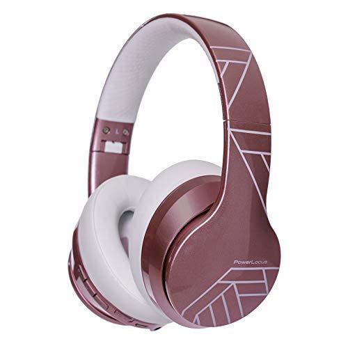 PowerLocus P6 - Cuffie Bluetooth Over Ear, [20 ore Autonomia,Voice Assistant] Cuffie Wireless Senza-Fili Pieghevoli,Cuffie Hi-Fi Stereo con Microfono per iPhone, Samsung, iPad, PC, TV -Oro Rosa Lucido